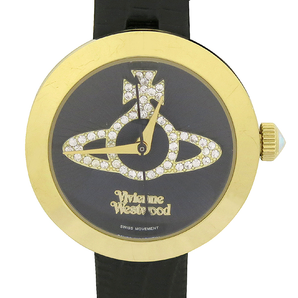 Vivienne_Westwood (비비안웨스트우드) ORB 크리스탈 로고 장식 금장 라운드 여성용 가죽밴드 시계 [강남본점]