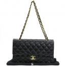 Chanel(샤넬) A01112 램스킨 블랙 클래식 M사이즈 금장로고 체인 플랩 숄더백 [강남본점]