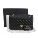Chanel(샤넬) A01112 램스킨 블랙 클래식 M사이즈 금장로고 체인 플랩 숄더백 [대구반월당본점]