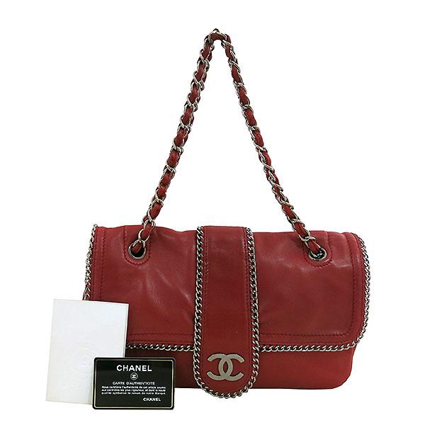 Chanel(샤넬) A34877 레드 컬러 카프스킨 레더 은장 체인 장식 숄더백 [대구동성로점]