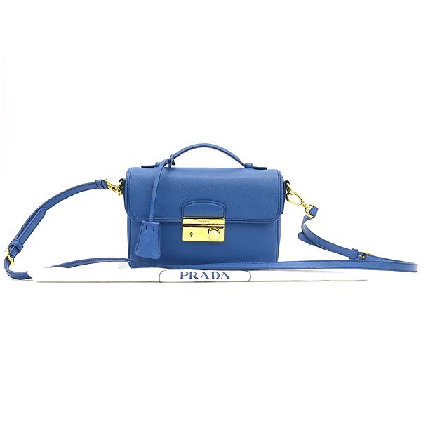 Prada(프라다) BT0963 블루 컬러 금장 락장식 사피아노 토트겸 크로스백 [강남본점]