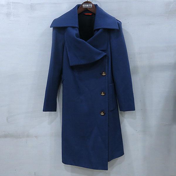 Vivienne_Westwood (비비안웨스트우드) 레드라벨 네이비 울 혼방 여성용 코트 [부산센텀본점]