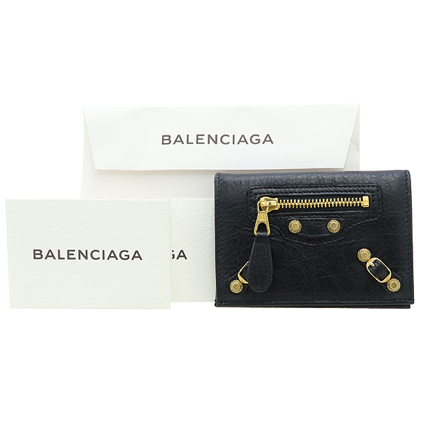 Balenciaga(발렌시아가) 285374 블랙 컬러 레더 금장 자이언트 명함 겸 카드지갑 [강남본점]