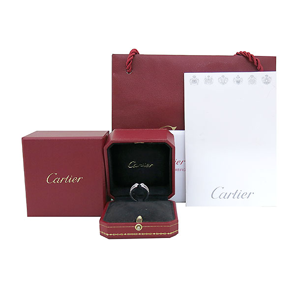 Cartier(까르띠에) B4044200 18K 화이트 골드 더블 C 링 다이아 웨딩밴드 반지- 10호 [부산센텀본점]
