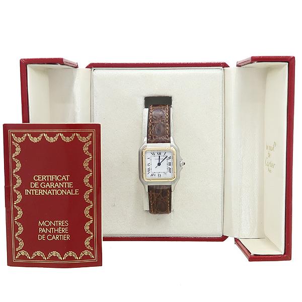 Cartier(까르띠에) 18K 콤비 산토스 쿼츠 가죽밴드 여성용 시계 [강남본점]