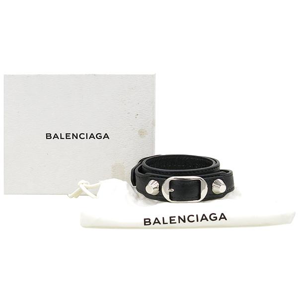Balenciaga(발렌시아가) 236342 블랙 컬러 은장 메탈 장식 레더 스트랩 팔찌 [강남본점]