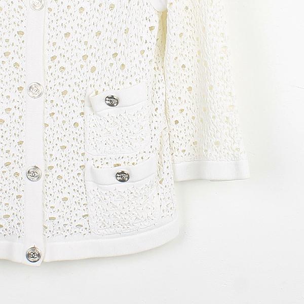 Chanel(샤넬) P43331K04388 화이트 컬러 면 혼방 여성용 시스루 자켓 [강남본점] 이미지2 - 고이비토 중고명품