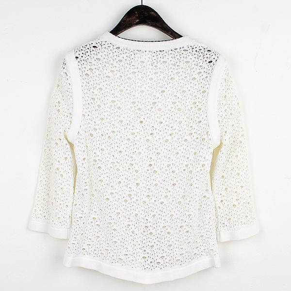 Chanel(샤넬) P43331K04388 화이트 컬러 면 혼방 여성용 시스루 자켓 [강남본점] 이미지3 - 고이비토 중고명품