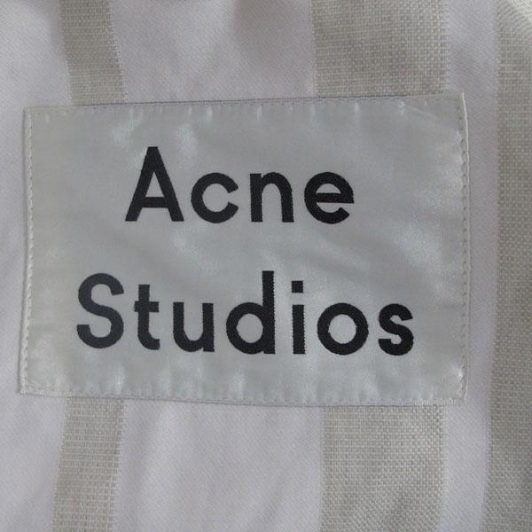 Acne(아크네) STUDIO 인디 라이트 핑크 스트라이프 COTTON 멀티 지퍼 포켓 후드 오버 여성용코트 [대구반월당본점]