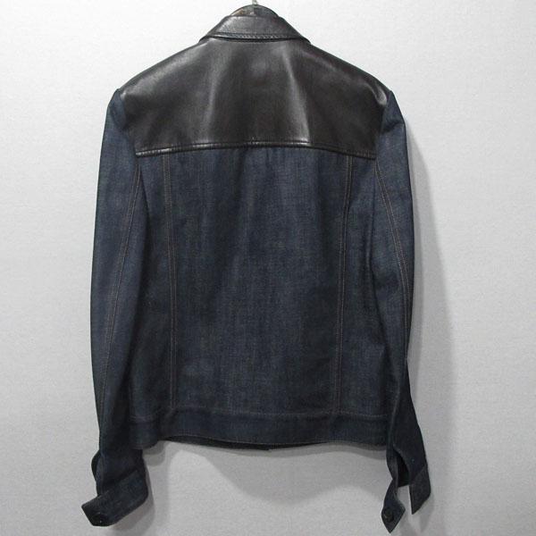 Prada(프라다) GEBX81 브라운 레더 트리밍 남성용 데님 자켓 [대구반월당본점]