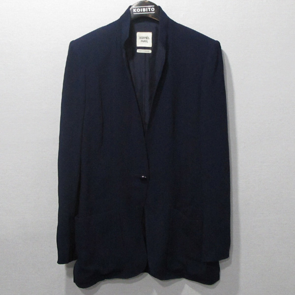 Hermes(에르메스) 비스코스 100% 네이비 컬러 원버튼 여성용 자켓 [대구반월당본점]