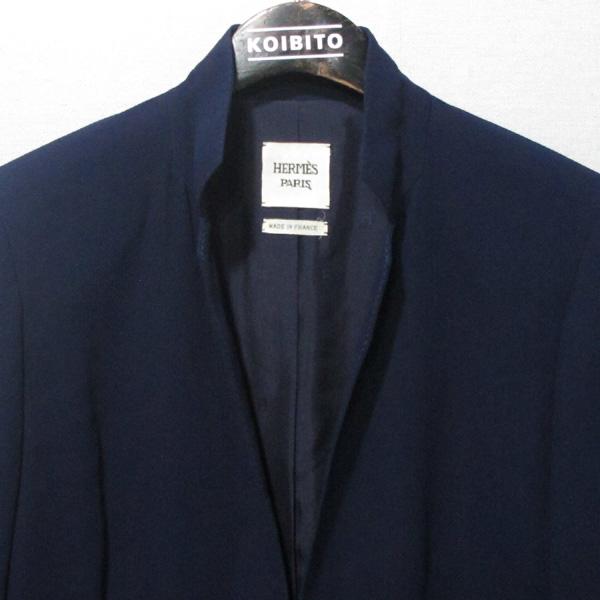 Hermes(에르메스) 비스코스 100% 네이비 컬러 원버튼 여성용 자켓 [대구반월당본점] 이미지2 - 고이비토 중고명품
