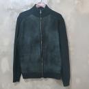 Ferragamo(페라가모) 캐시미어 + 울 혼방 블랙 컬러 가죽 배색 짚업 남성용 니트 점퍼 [대구동성로점]