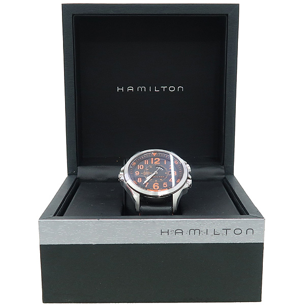HAMILTON(해밀턴) H776950 KHAKI GMT AIR RACE 카키 에어 레이스 오토매틱 블랙다이얼 오렌지 넘버 인덱스 러버스티치 밴드 남성용시계 [강남본점]