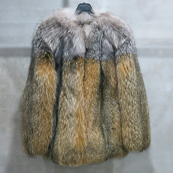 LANVIN(랑방) 그레이 그라데이션 옐로우 컬러 FOX 퍼 코트 [인천점]
