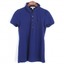 Burberry(버버리) 면 혼방 퍼플 블루계열 체크 셔링 카라 장식 여성용 반팔 티셔츠 [강남본점]