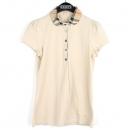 Burberry(버버리) 면혼방 베이지 컬러 체크 카라장식 여성용 반팔 티셔츠 [강남본점]