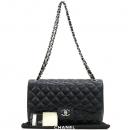 Chanel(샤넬) A58600 캐비어스킨 블랙 클래식 점보 L사이즈 은장로고 체인 플랩 숄더백 [강남본점]