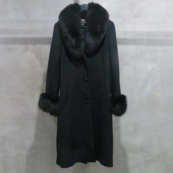 ST.John(센존) 블랙 컬러 캐시미어 혼방 100% 여우털 탈부착 여성용 코트 [인천점]