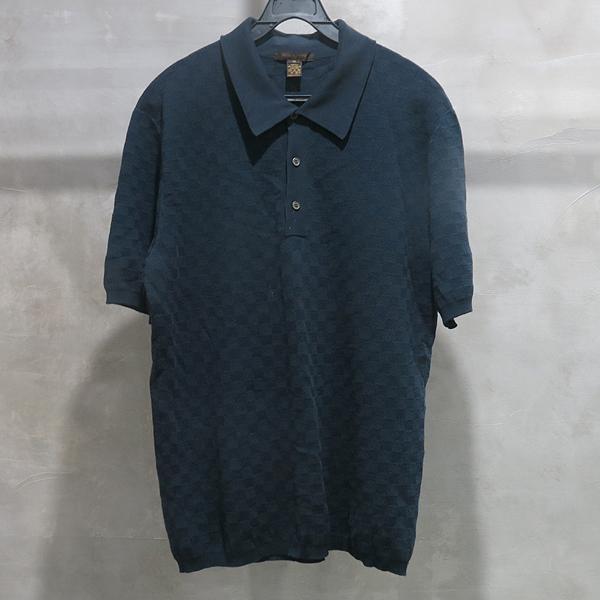 Louis Vuitton(루이비통) 코튼+캐시미어 혼방 네이비 컬러 남성용 카라티 [인천점]