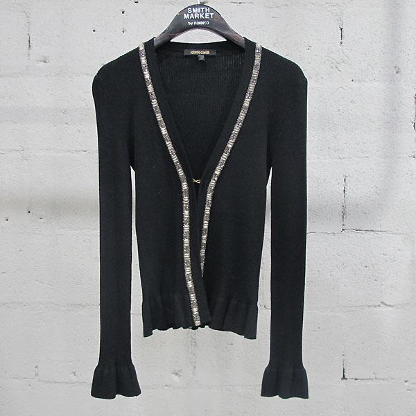 CAVALLI(카발리) 블랙 컬러 비즈 큐빅 장식 여성용 롱 가디건 [동대문점]