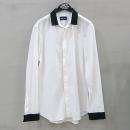 Emporio Armani(엠포리오 아르마니) 면 혼방 화이트 컬러 블랙 투톤 남성용 셔츠 [부산센텀본점]
