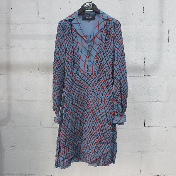 Gucci(구찌) 382322 실크 100% 라이트 블루 멀티 체크 패턴 실크 원피스 [동대문점]