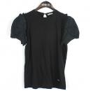MiuMiu(미우미우) 블랙 컬러 면 100% 소매 레이스 장식 여성용 V넥 티셔츠 [강남본점]