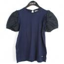 MiuMiu(미우미우) 네이비 컬러 면 100% 소매 레이스 장식 여성용 V넥 티셔츠 [강남본점]