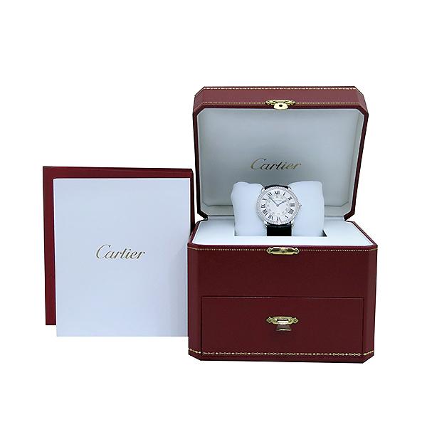 Cartier(까르띠에) WR000551 18K 화이트 골드 금통 다이아 RONDE (롱드) LOUIS (루이) 가죽 밴드 L사이즈 남성용 시계 [부산센텀본점]