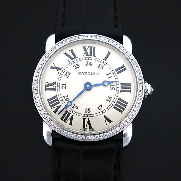 Cartier(까르띠에) WR000251 18K 화이트 골드 금통 다이아 RONDE (롱드) LOUIS (루이) 가죽 밴드 쿼츠 여성용 시계 [부산센텀본점]