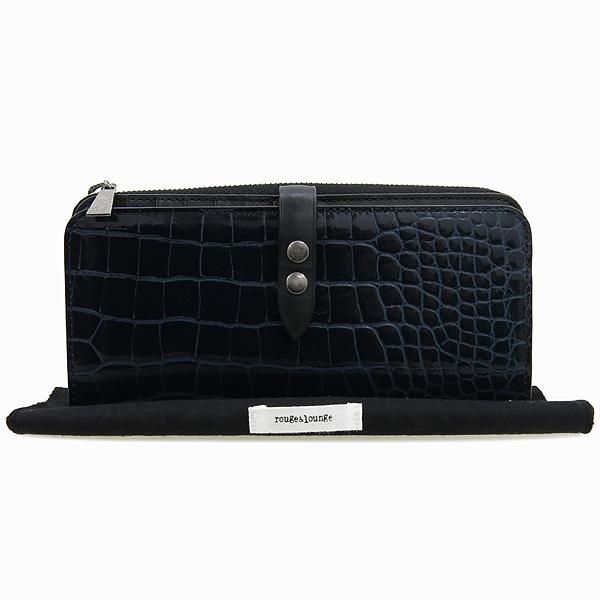 Rouge&lounge(루즈앤라운지) 네이비컬러 유광 크로크다일 패턴 장지갑 [강남본점]
