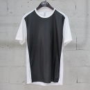 NEIL BARRETT(닐바렛) 면 100% 화이트 컬러 블랙 페이크 레더 장식 여성용 티셔츠 [동대문]