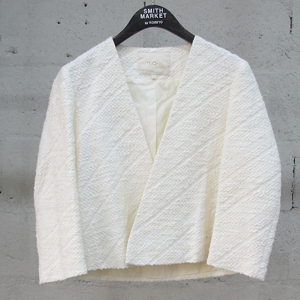 MAJE(마쥬) 면 혼방 아이보리 컬러 여성용 오픈형 숏 자켓 [동대문점]