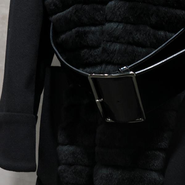 Armani COLLEZIONI(아르마니 꼴레지오니) MML18T-MM650 블랙 모 혼방 모피 장식 여성용 롱 코트 벨트(SET) [인천점] 이미지2 - 고이비토 중고명품