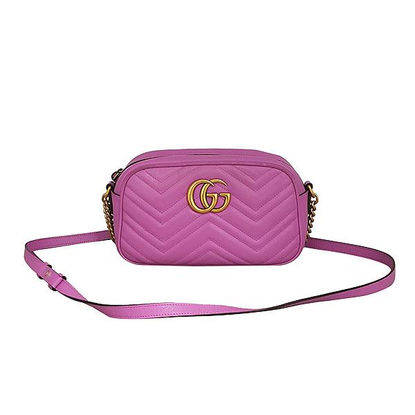 Gucci(구찌) 447632 핑크 레더 GG Marmont(마몬트) 마틀라세 금장 로고 체인 크로스백 [동대문점]
