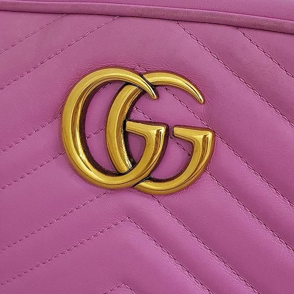 Gucci(구찌) 447632 핑크 레더 GG Marmont(마몬트) 마틀라세 금장 로고 체인 크로스백 [동대문점] 이미지3 - 고이비토 중고명품