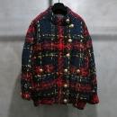 Balmain(발망) BM7739A02R 골드 메탈 버튼 레드 체크 트위드 여성용 자켓 [인천점]