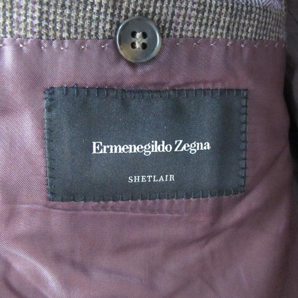 Zegna(제냐) 에르메네질도 제냐 다크브라운 퍼플 디테일 글렌체크 캐시미어 모헤어 아웃포켓 싱글 3버튼 남성용자켓 [대구반월당본점] 이미지4 - 고이비토 중고명품
