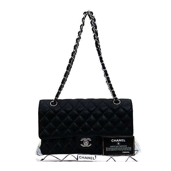 Chanel(샤넬) A01112Y01588 캐비어스킨 블랙 클래식 M사이즈 은장 체인 숄더백 [부산센텀본점]