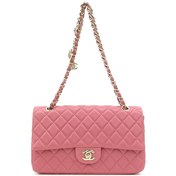 Chanel(샤넬) A90214 2014 프리컬렉션 핑크 컬러 램스킨 까멜리아 장식 클래식 M 사이즈 체인 숄더백 [강남본점] 이미지2 - 고이비토 중고명품