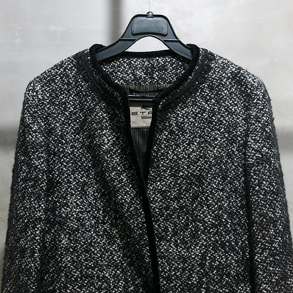 Etro(에트로) 면 모 혼방 블랙 트위드 여성용 롱 코트 자켓 [인천점] 이미지2 - 고이비토 중고명품