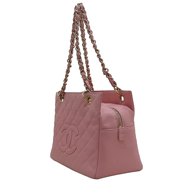 Chanel(샤넬) A18004 핑크 캐비어스킨 COCO로고 스티치 정방 금장 체인 숄더백 [인천점]