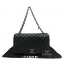 Chanel(샤넬) 블랙 램스킨 레더 은장 트위스트 측면 체인 장식 퀼팅 플랩 숄더백 [인천점]