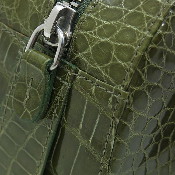 COLOMBO(콜롬보) 올리브카키 컬러 크로커다일 레더 플랩 포켓 장식 토트백 [인천점] 이미지3 - 고이비토 중고명품