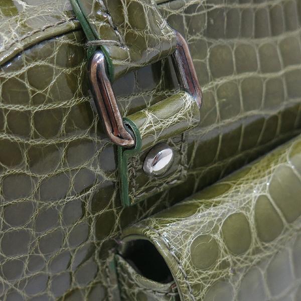 COLOMBO(콜롬보) 올리브카키 컬러 크로커다일 레더 플랩 포켓 장식 토트백 [인천점] 이미지4 - 고이비토 중고명품