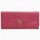 Prada(프라다) 1M1132 핑크 컬러 사피아노 레더 금장 삼각 로고 장식 장지갑 [강남본점]