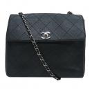 Chanel(샤넬) 블랙 캐비어 와이드 스티치 은장 로고 탑핸들 체인 숄더백 [인천점]