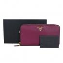 Prada(프라다) 1M0506 금장 로고 핑크 컬러 사피아노 집업 장지갑 [동대문점]