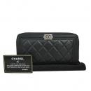 Chanel(샤넬) A80288 블랙 레더 은장 로고 보이 샤넬 집업 장지갑 [동대문점]